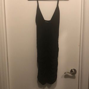 LBD Black All-Over Rouched Midi Dress